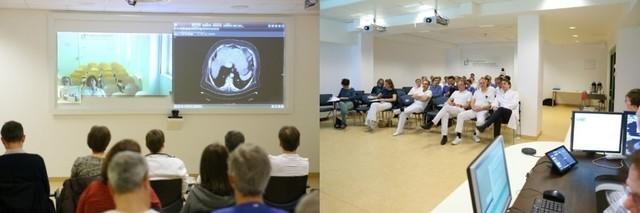 Eine standortübergreifende Tumorkonferenz im Evangelischen Waldkrankenhaus Spandau mit KollegInnen der Evangelischen Lungenklink Berlin.